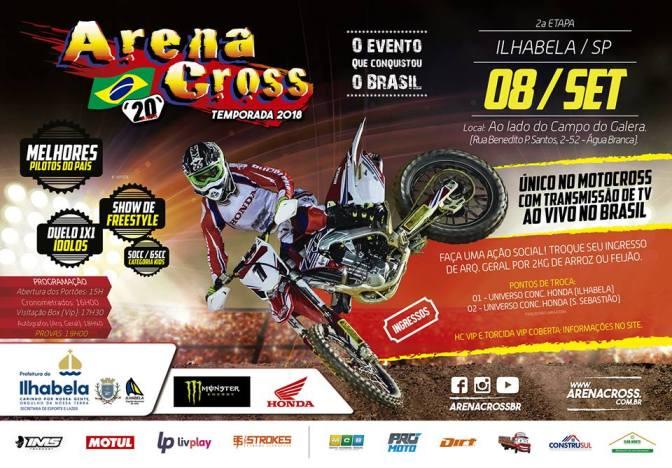 Ilhabela recebe em setembro a segunda etapa do Arena Cross Brasil