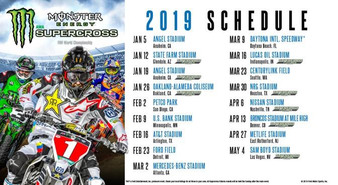 Calendário do AMA Supercross 2019 é anunciado