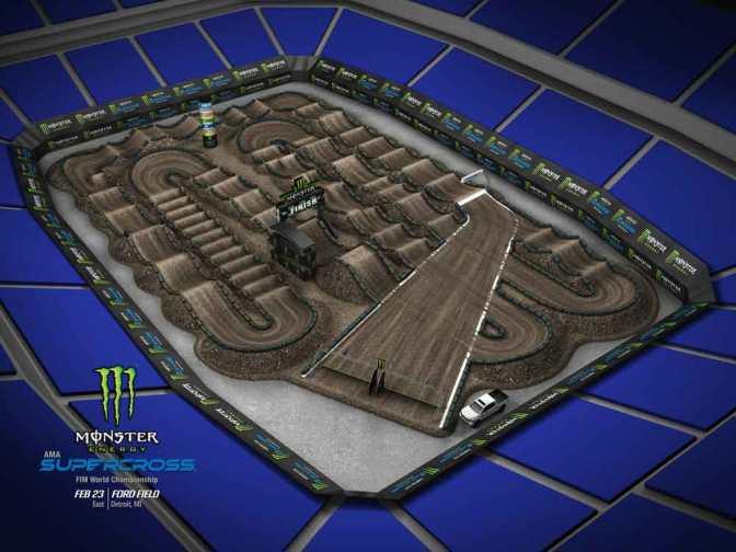 Volta virtual Monster Energy Supercross 2019 em Detroit