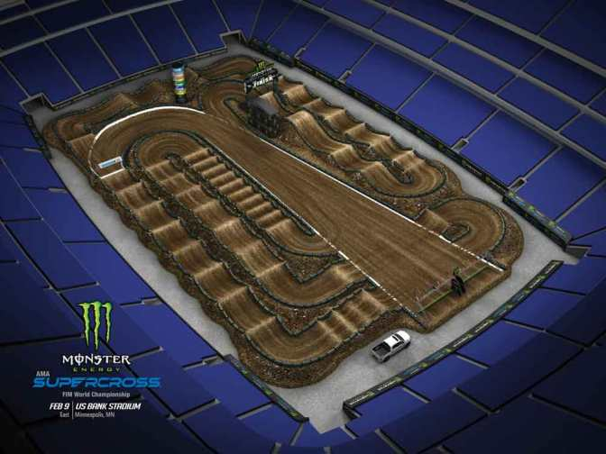 Volta virtual Monster Energy Supercross 2019 em Minneapolis