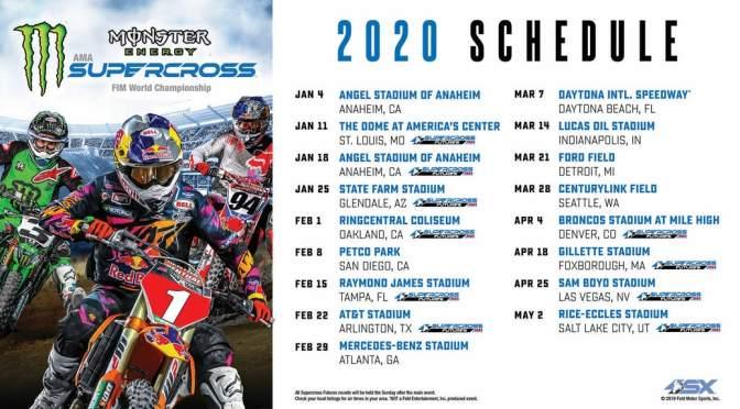 Calendário do AMA Supercross 2020 é anunciado