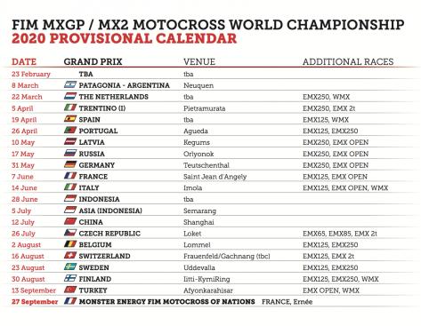 Calendario Ama Motocross 2020.Calendario Provisorio Do Mundial De Motocross 2020 E